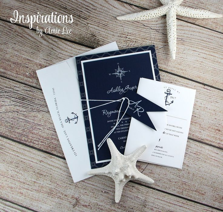 Nautical Wedding Invitations Navy and White Wedding