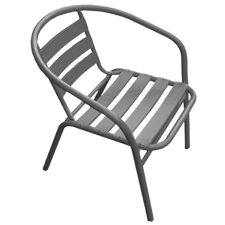 Funky garden armchair steel-aluminum grey Ε242,5