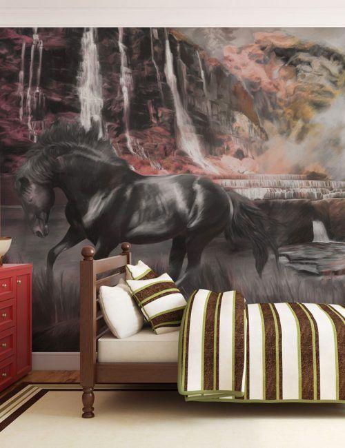 Carta da Parati Cavallo Nero con Cascata Carta da Parati Fotomurale a Tema Natura con Animali