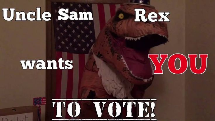 Uncle Sam Rex Wants You to Vote  https://youtu.be/fZMw3ZyHiio  These crazy dinos are at it again encouraging you to get out and vote today!  Contact us at 585-482-8780 for more information or check out select costumes and accessories on our Amazon page or website www.arlenescostumes.com  #trex #jurassicworld #inflatablecostume #inflatable #rubies #familyreunion #corporate #fundraiser #graduationparties #rocthevote #election2016
