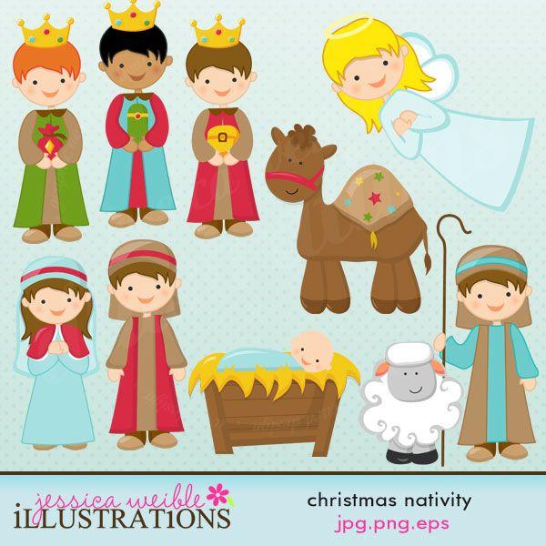 Cute Christmas Nativity Scene | Illustrations & Cliparts - Christmas Nativity - MYGRAFICO DIGITALS ...