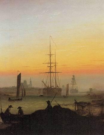 Port of Greifswald, oil on canvas by Caspar David Friedrich, German, 1174-1840.