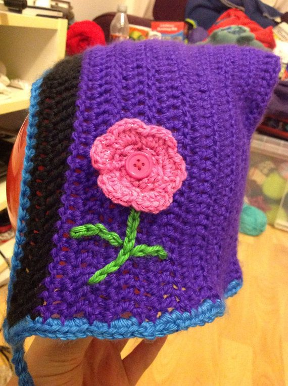 Children's Aran crocheted bonnet, crocheted hat, children's bonnet, Custom made, warm hat, crocheted hat, tassle bonnet, tassle hat
