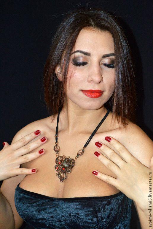 """Купить комплект : медное ожерелье и серьги """"Винтаж"""" - Ожерелье из камней, натуральный камень яшма"""