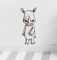 Nea the Rhino  Removable nursery wall stickers  www.peppapenny.com  Shop 3, 1642 Anzac Ave  North Lakes, QLD 4509