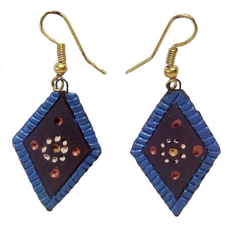 Clay Jewelry from Krishnanagar Handicraft Product New Design Stylish - Diamond Shaped Burnt Clay - Water-proof colour