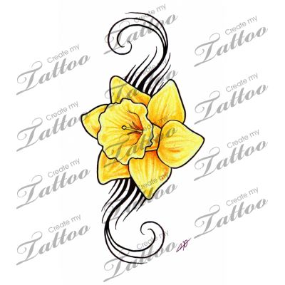 Daffodil Tattoo - Would be near to put my mom and dad into this in memory of rhem