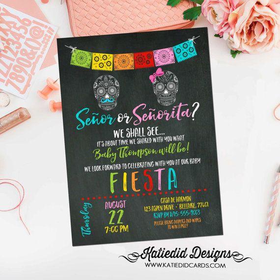 gender reveal fiesta invitation gender neutral mexican candy skull senor senorita baby shower sprinkle Papel Picado cinco de mayo item 1460