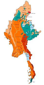 Disttribución de grupos etnolingüísticos de Birmania. Birmania es un país bastante diverso desde el punto de vista etnolingüístico. En su territorio confluyen tres grandes familias lingüísticas de Asia: la familia tibeto-birmana, la familia austroasiática y la familia tai-kadai. El principal idioma del país, el idioma birmano es una lenguas tibeto-birmana del grupo lolo-búrmico.
