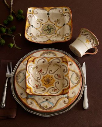 "16-Piece ""Baldaccio"" Dinnerware Service by Caff Ceramiche at Horchow."