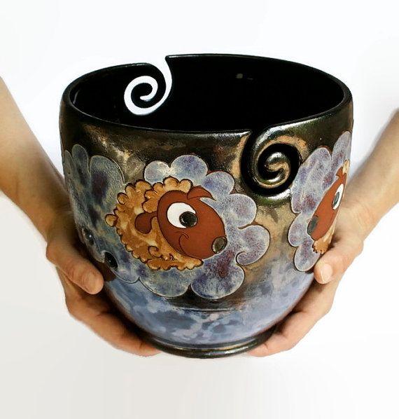 Yarn Bowl with Sheep Pottery Yarn Bowl Knitting by MMceramicdesign