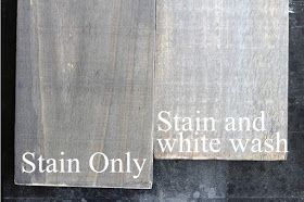 DIY Barn Wood Look - stain and chalk paint white wash. Love this!
