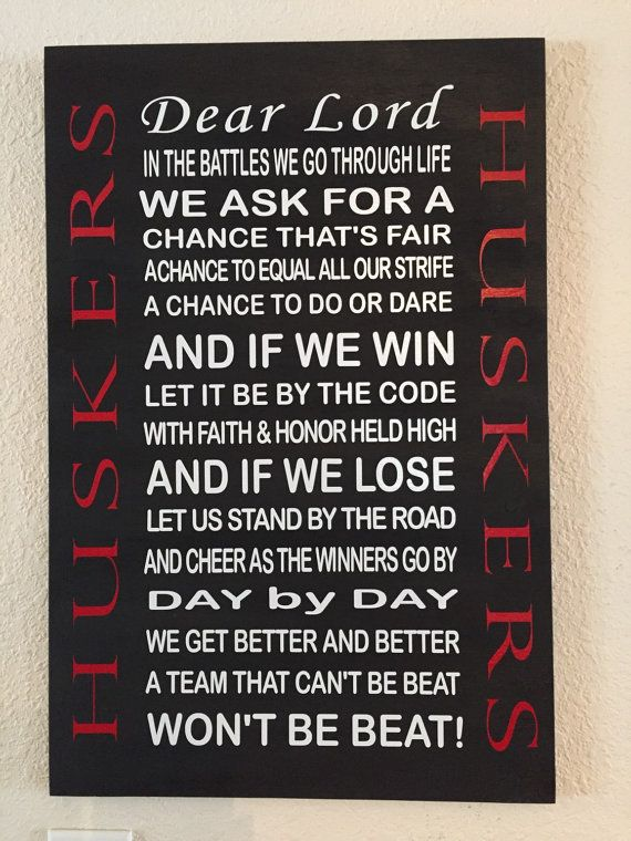 Nebraska Husker Prayer Sign Athletic Wooden By