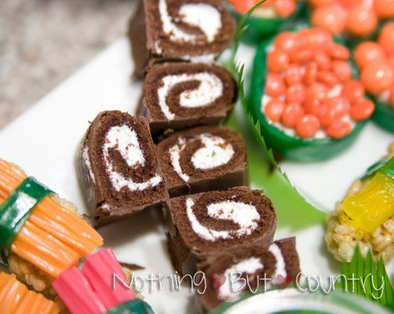 Swiss Cake Rolls - Sushi! i'm thinking house warming party :)
