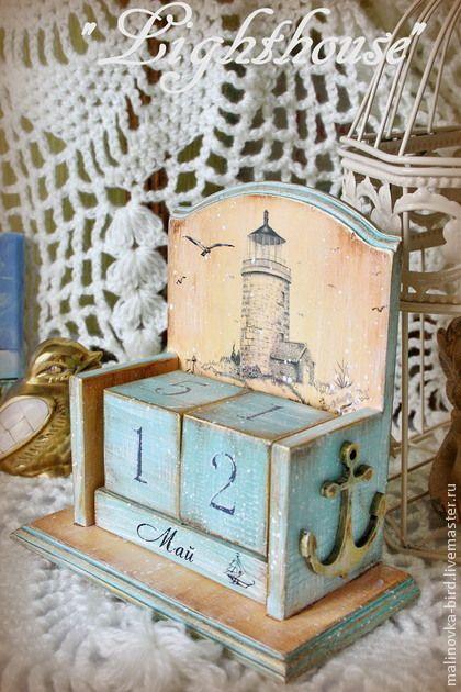 """Календари ручной работы. Ярмарка Мастеров - ручная работа """"Lighthouse"""" вечный календарь. Handmade."""