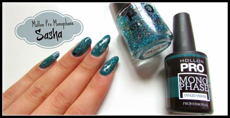 Betty Nails: Nail Art On Gel Nails - Glitter and Stamping - Mollon Pro Monophase Sasha