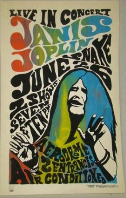 An artist's proof poster for a 1970 Janis Joplin concert in Syracuse, NY