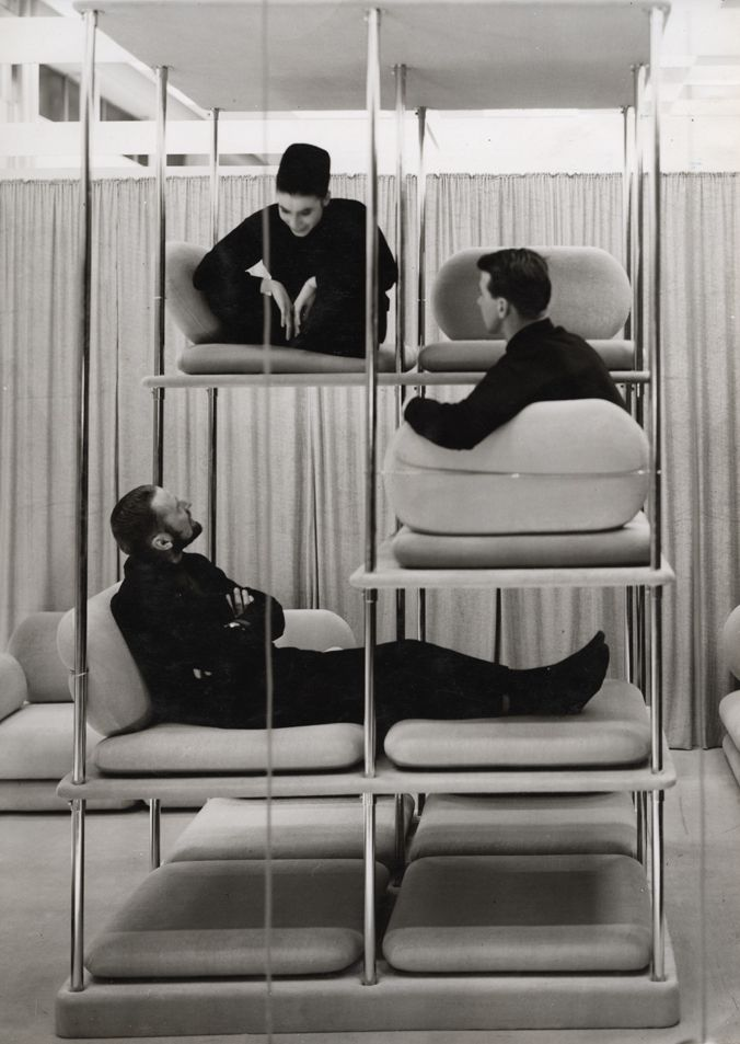 Inspired by the set of Bye Bye Birdie, this multi-level sofa is perfect for small, tall spaces!  Verner Panton