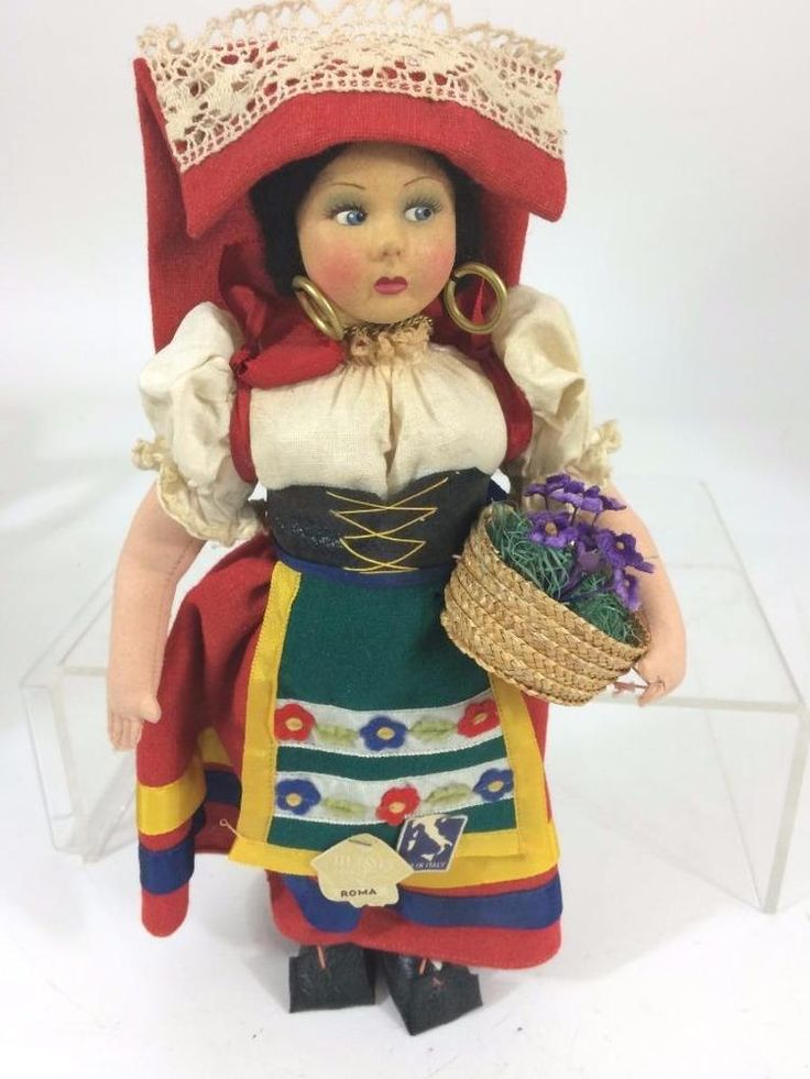 Always fun to collect #International souvenir dolls - educational AND charming! #Magis Roma Rome Italy Vtg 1950's International Costume Souvenir Doll Tagged 11""