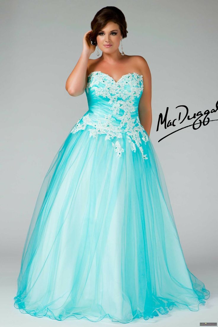 Mac Duggal Style 76429F - Strapless plus size ballgown with floral design appliques. Full skirt with a tulle overlay and lace up back will make you feel like a princess ready for the ball.
