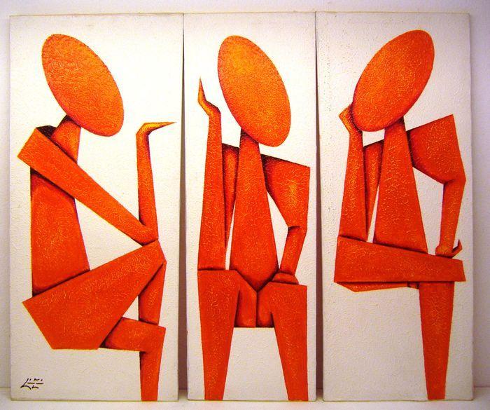 Online veilinghuis Catawiki: Cubaanse kunst - Drieluik met abstracte figuren