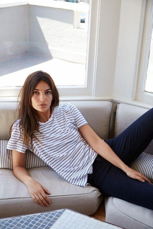 keep it simple with a striped t-shirt and jeans
