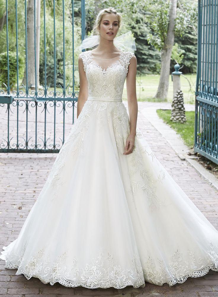 Vestido de Noiva de Sottero and Midgley de Maggie Sottero (Bellissima), corte em a, decote ilusão, longo