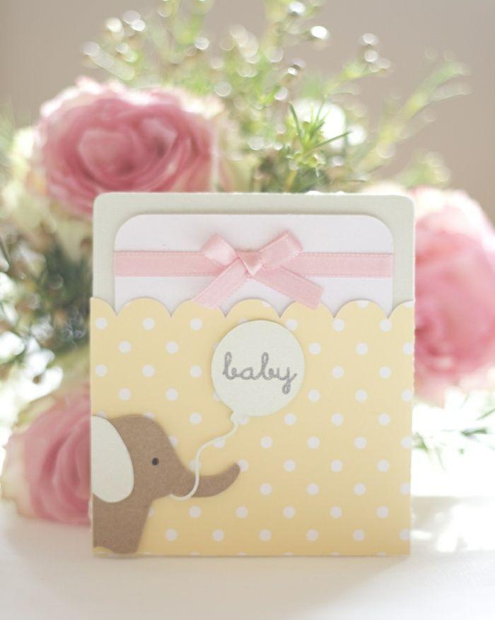 Baby Party Einladung Neutralle Farbnuancen Gelb