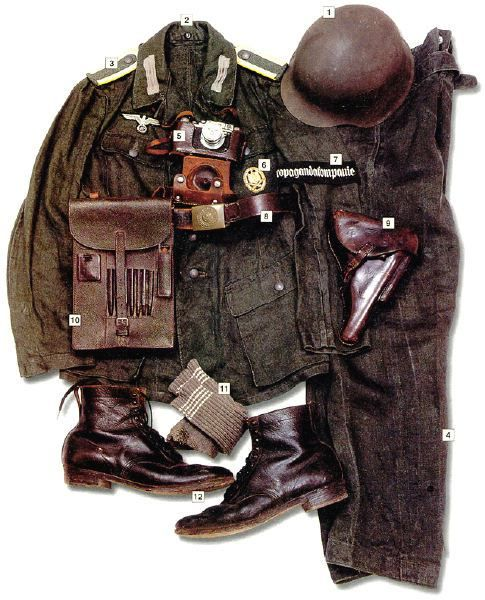 "WEHRMACHT - Unteroffizier (corporal), Wehrmacht Propagandakompanie, 1943 01 – M-42 helmet 02 – M-43 summer jacket 03 – shoulder straps with Unteroffizier's insignia and bright yellow colors of the signal troops (used by the PK until 1943, later changet to grey) 04 – trousers 05 – Leica camera 06 – infantry assault badge 07 – ""Propagandakompanie"" armband 08 – belt 09 – holster for Luger P-08 pistol 10 – map pouch 11 – woollen socks 12 – leather boots"