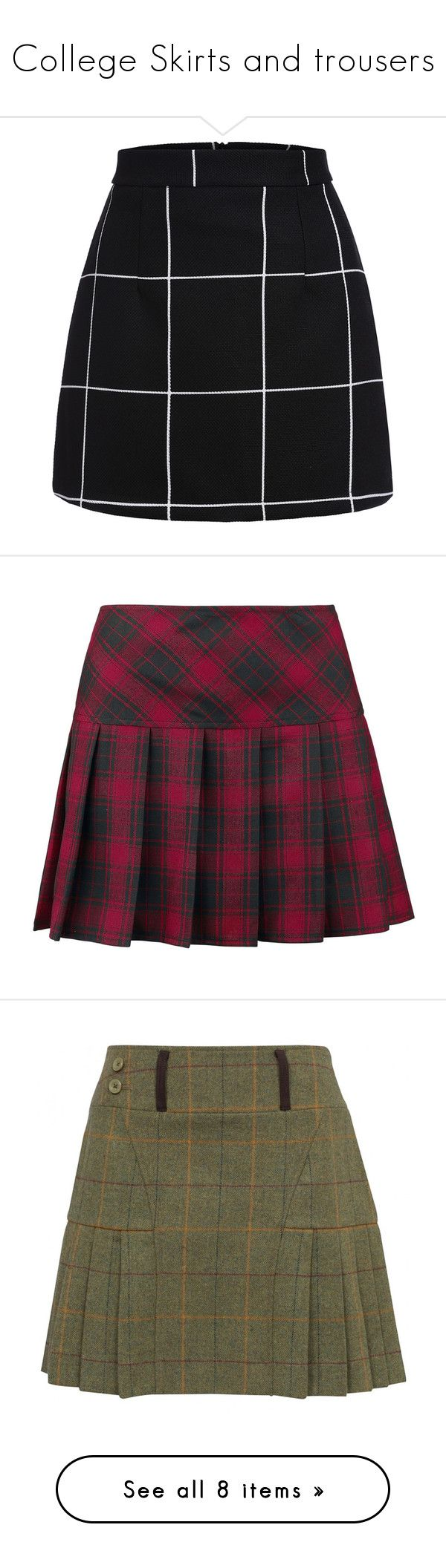 """""""College Skirts and trousers"""" by xenia-fashionista ❤ liked on Polyvore featuring skirts, mini skirts, bottoms, saias, faldas, black, tartan skirt, plaid miniskirts, short skirts and short miniskirt"""