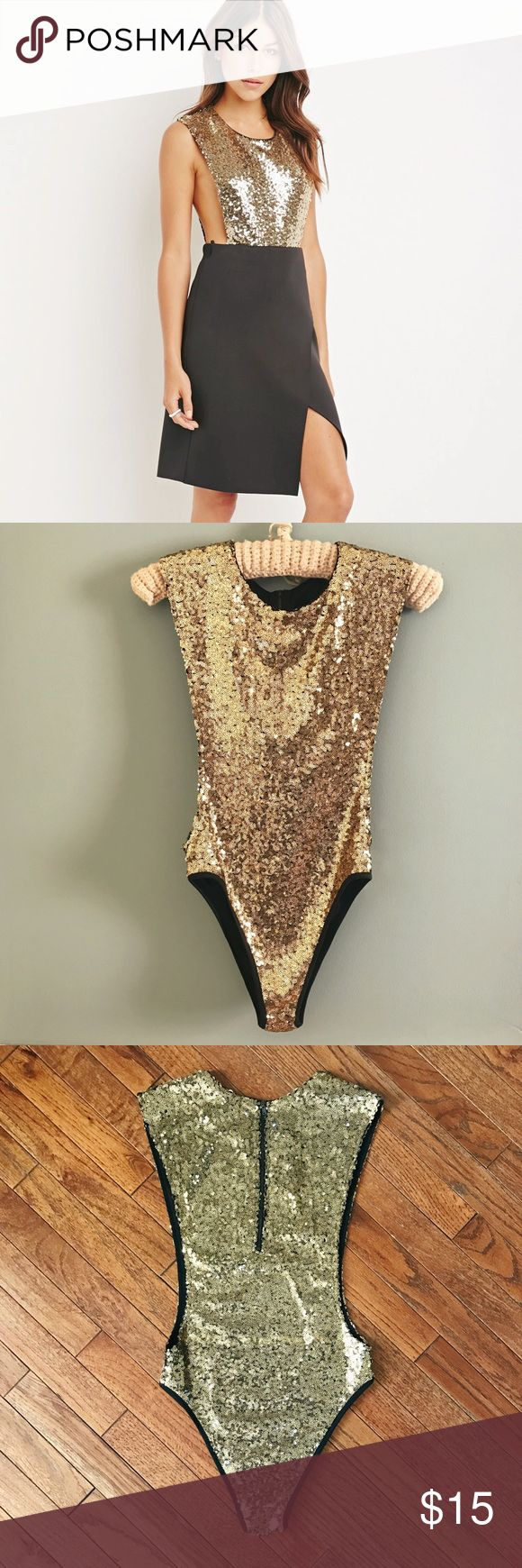 NWT Forever 21 Gold Sequin Bodysuit ✨NWT Forever 21 Gold Sequin Bodysuit. Bodysuit is new with tags, size small. A great going out piece! ✨ Forever 21 Other
