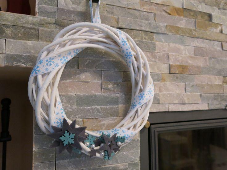 door wreath - blue and grey