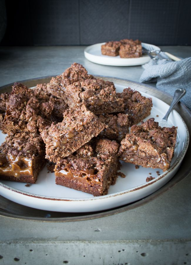 This Chocolate Caramel Muesli Bar is a delicious, nut-free, whole foods lunchbox treat. It's easy to make and has variations for gluten and dairy free too.