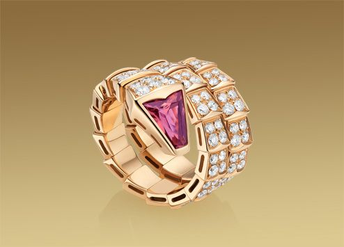serpenti ring in 18 kt pink gold with rubellite and full pav diamonds