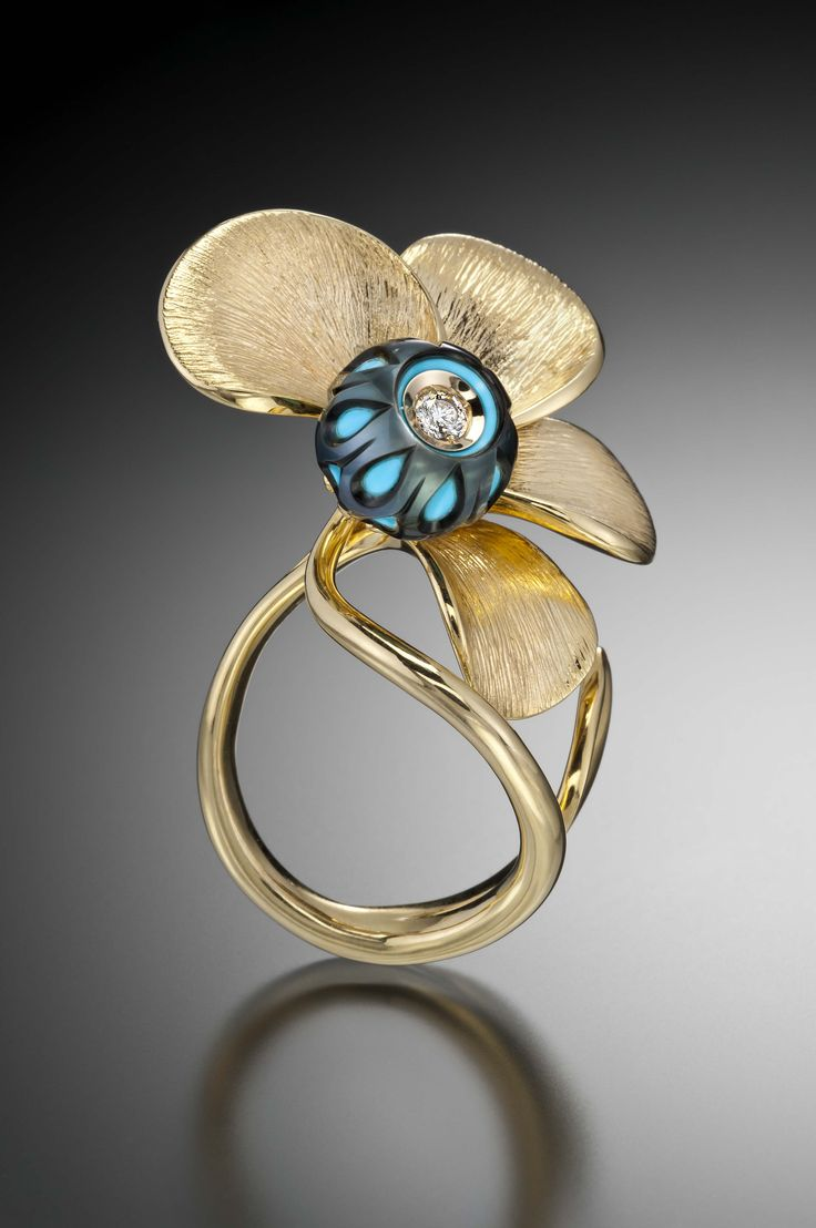 Galatea Sutol ring in 14k gold with turquoise-centered, hand-carved Galatea Pearl. | JH Faske Jewelers