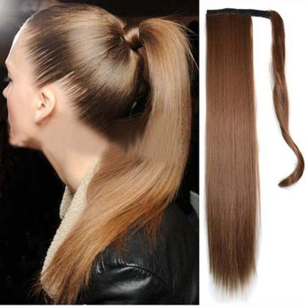 Long Straight Ponytail ($12) ❤ liked on Polyvore featuring accessories, hair accessories, white, white hair accessories and long hair accessories