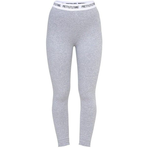Petite Grey PLT Slogan Waistband Leggings ($30) ❤ liked on Polyvore featuring pants, leggings, wide-waistband leggings, gray leggings, petite pants, gray pants and gray trousers
