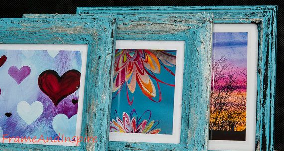 Upcycled Photo Frames. Set of 3. Textured. by FrameAndInspire