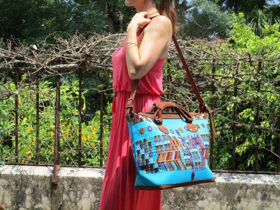 Jazuli Designs Turquoise Blue Guatemalan Huipil Textile Chajul Weekender Travel Bag With Quality Nubuck Leather Finishes Pinterest