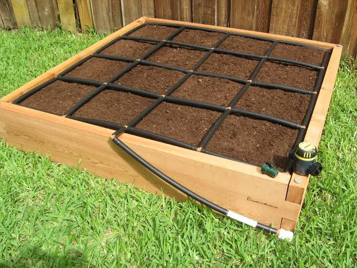Raised Garden Kits That Provide Square Foot Gardening Grid And Irrigation  In One.