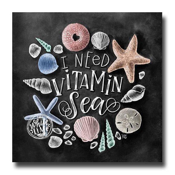 Strand van kunst ik behoefte vitamine zee schoolbord kunst