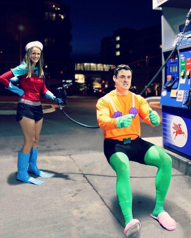 Mermaid man and barnacle boy costumes. TO THE INVISIBLE BOAAAAT MOBILE! ⚓️ . . . #spongebob #spongebobmemes #spongebobsquarepants #mermaidmanandbarnacleboy #mermaidman #barnacleboy #invisibleboatmobile #totheinvisibleboatmobile #halloween #happyhalloween #halloweencostume #couplegoals #couplecostumes #couplescostume #nickelodeon #cartoon #diycostume #diycostumes #diy