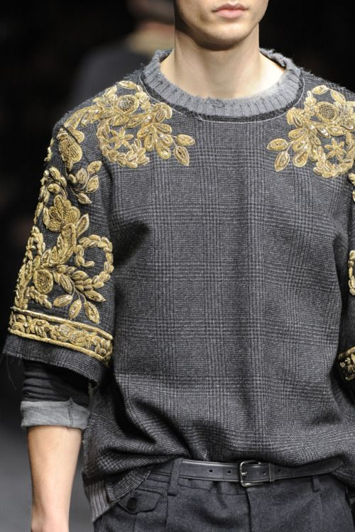 Embroidery over plaid. Dolce & Gabbana Fall/Winter 2012