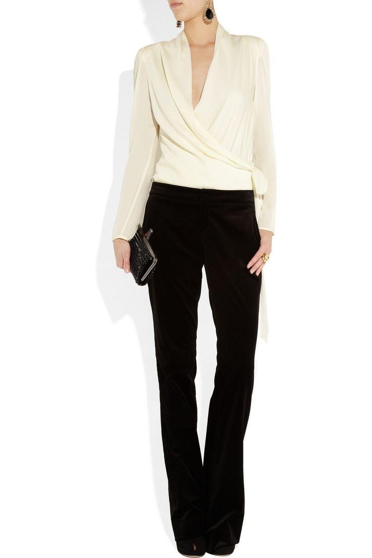 Work wear - Catherine Malandrino washed stretch-silk wrap-effect blouse,  Etro earrings
