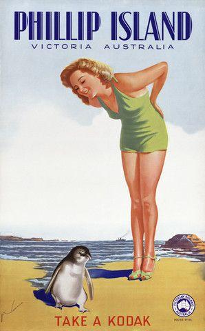 Phillip Island, Australia. Vintage travel poster, circa 1930s. #vintage #australia #travel #penguin #cute