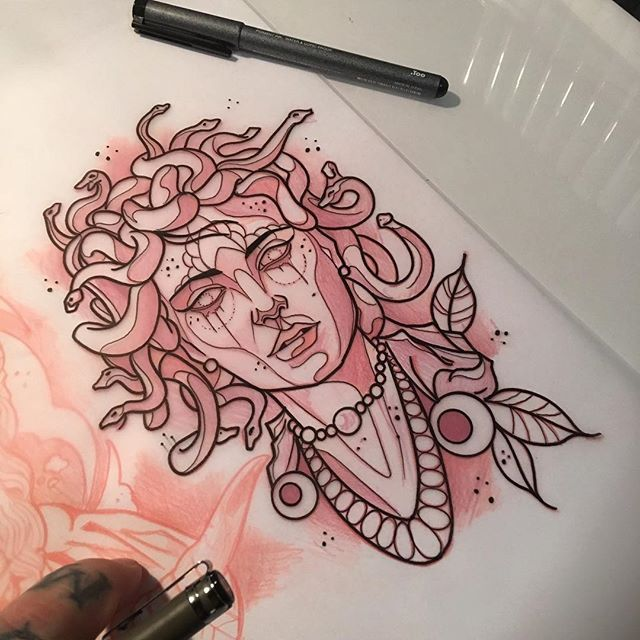 #mulpix Dropping this  #medusa on Matt today!  #neotraditional  #neotrad…