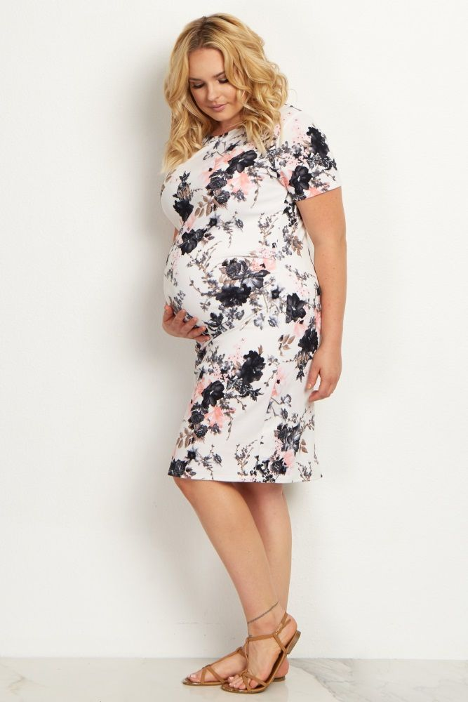 White Floral Fitted Plus Size Dress