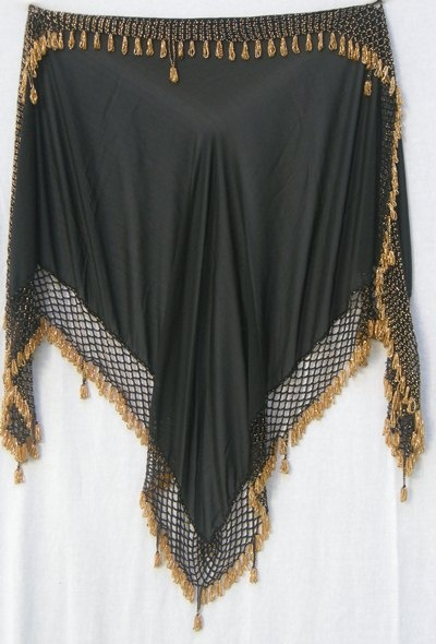 Black Triangle Hip Scarf with Gold Beading - simple & stunning!