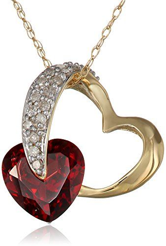 10k Yellow Gold Garnet and Diamond Heart-Shaped Pendant Necklace (1/10 cttw, I-J Color, I2-I3 Clarity) � Jewelry from Selena
