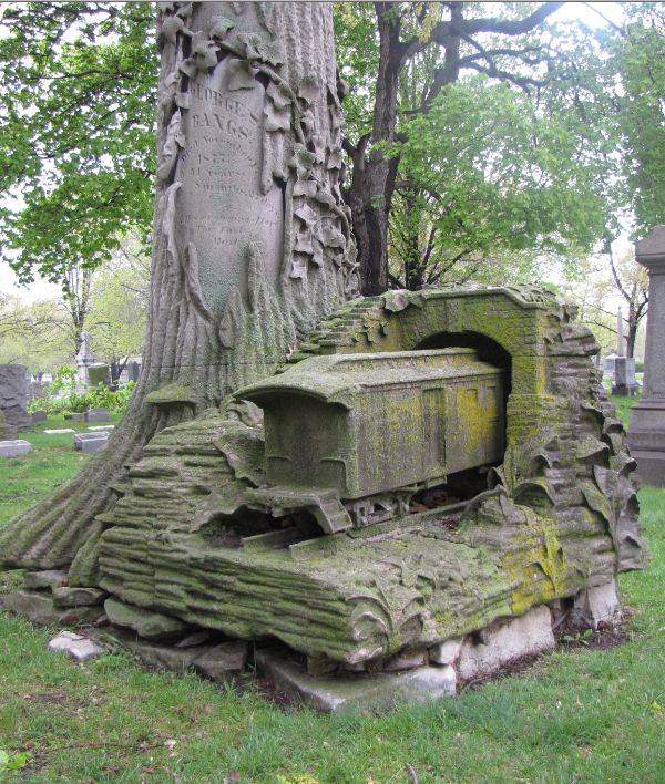 This monument at Rosehill Cemetery in Chicago is a US Postal Service train entering his final tunnel.